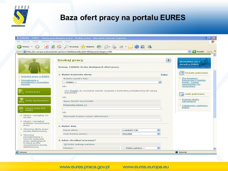 Baza ofert pracy na portalu EURES