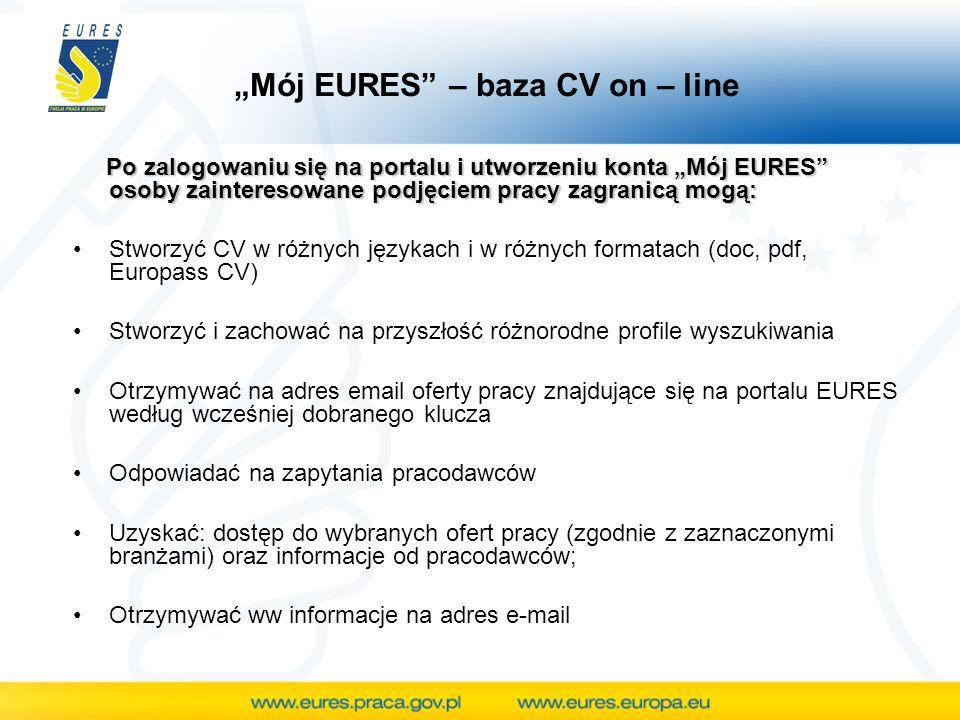 Po zalogowaniu się na portalu i utworzeniu konta Mój EURES osoby zainteresowane podjęciem pracy zagranicą mogą: Po zalogowaniu się na portalu i utworzeniu konta Mój EURES osoby zainteresowane podjęciem pracy zagranicą mogą: Stworzyć CV w różnych językach i w różnych formatach (doc, pdf, Europass CV) Stworzyć i zachować na przyszłość różnorodne profile wyszukiwania Otrzymywać na adres email oferty pracy znajdujące się na portalu EURES według wcześniej dobranego klucza Odpowiadać na zapytania pracodawców Uzyskać: dostęp do wybranych ofert pracy (zgodnie z zaznaczonymi branżami) oraz informacje od pracodawców; Otrzymywać ww informacje na adres e-mail Mój EURES – baza CV on – line