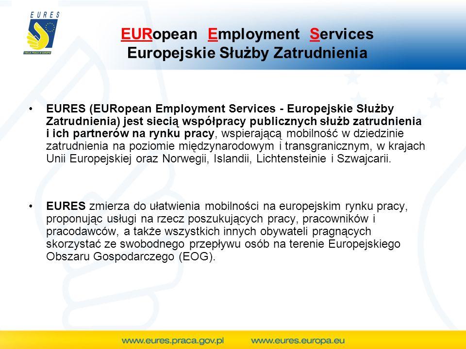 EURopean Employment Services Europejskie Służby Zatrudnienia EURES (EURopean Employment Services - Europejskie Służby Zatrudnienia) jest siecią współpracy publicznych służb zatrudnienia i ich partnerów na rynku pracy, wspierającą mobilność w dziedzinie zatrudnienia na poziomie międzynarodowym i transgranicznym, w krajach Unii Europejskiej oraz Norwegii, Islandii, Lichtensteinie i Szwajcarii.