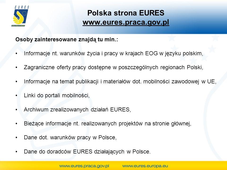Polska strona EURES www.eures.praca.gov.pl Osoby zainteresowane znajdą tu min.: Informacje nt.