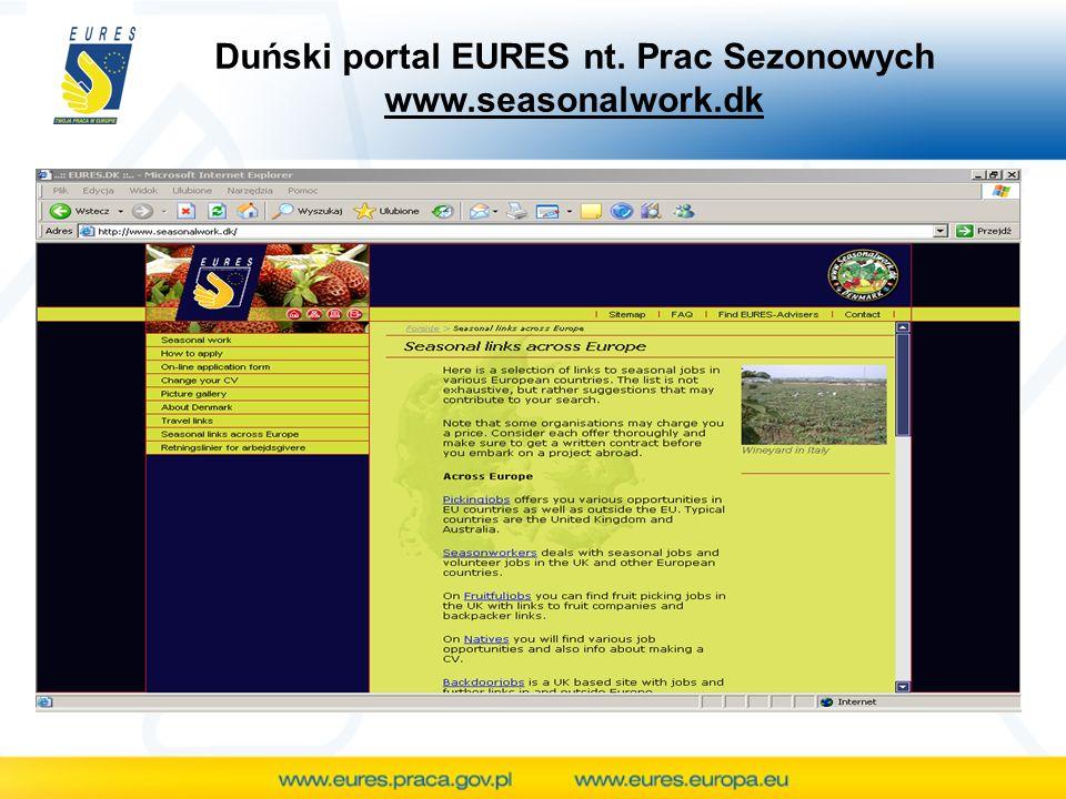 Duński portal EURES nt. Prac Sezonowych www.seasonalwork.dk