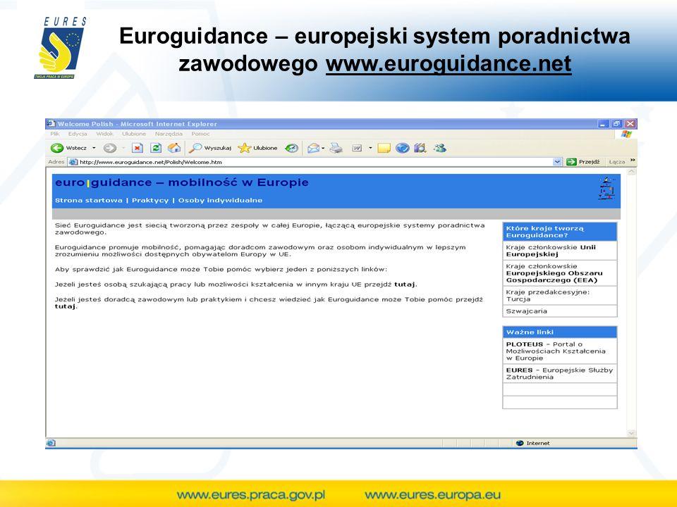 Euroguidance – europejski system poradnictwa zawodowego www.euroguidance.net
