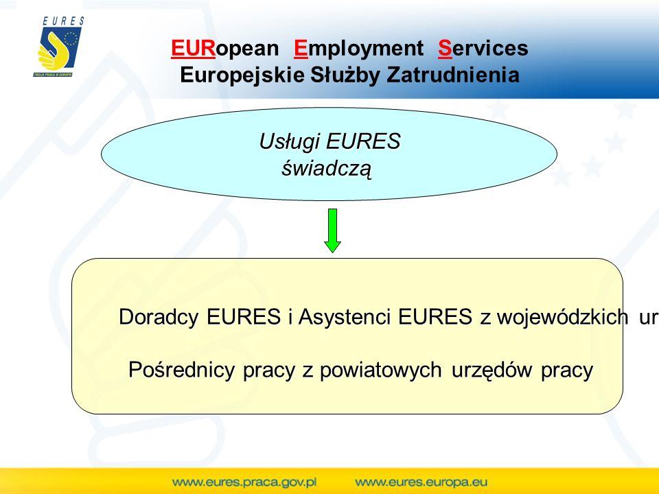 Doradcy EURES i Asystenci EURES z wojewódzkich urzędów pracy Doradcy EURES i Asystenci EURES z wojewódzkich urzędów pracy Pośrednicy pracy z powiatowych urzędów pracy Pośrednicy pracy z powiatowych urzędów pracy Usługi EURES świadczą EURopean Employment Services Europejskie Służby Zatrudnienia