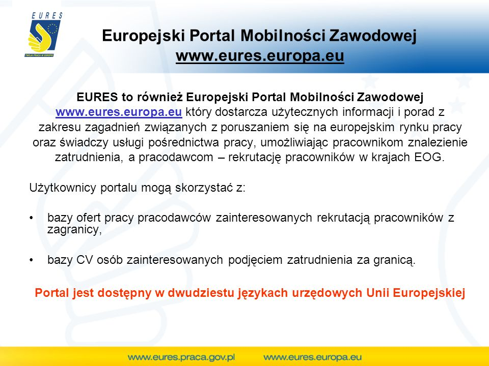 EURES to również Europejski Portal Mobilności Zawodowej www.eures.europa.eu który dostarcza użytecznych informacji i porad z zakresu zagadnień związanych z poruszaniem się na europejskim rynku pracy oraz świadczy usługi pośrednictwa pracy, umożliwiając pracownikom znalezienie zatrudnienia, a pracodawcom – rekrutację pracowników w krajach EOG.