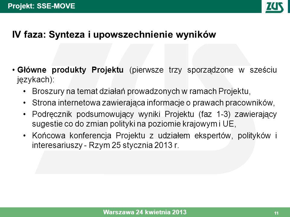 11 Projekt: SSE-MOVE IV faza: Synteza i upowszechnienie wyników Główne produkty Projektu (pierwsze trzy sporządzone w sześciu językach): Broszury na t