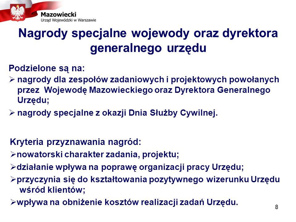 8 Nagrody specjalne wojewody oraz dyrektora generalnego urzędu Podzielone są na: nagrody dla zespołów zadaniowych i projektowych powołanych przez Wojewodę Mazowieckiego oraz Dyrektora Generalnego Urzędu; nagrody specjalne z okazji Dnia Służby Cywilnej.
