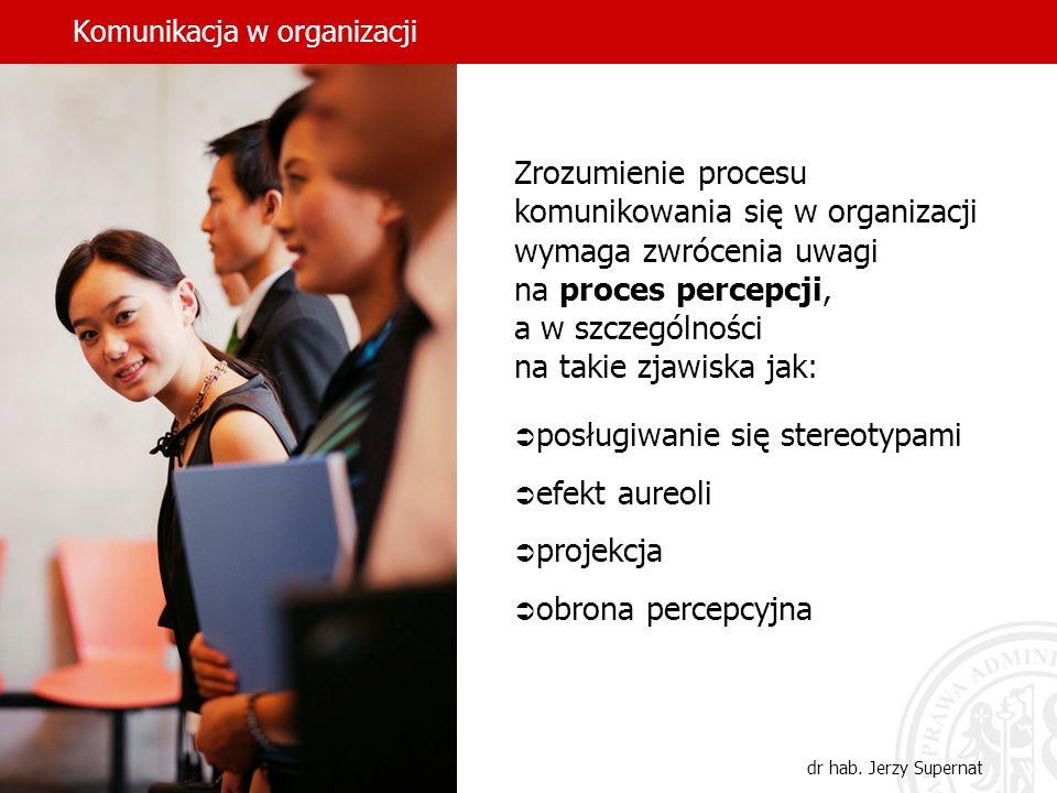 Komunikacja w organizacji dr hab. Jerzy Supernat Zrozumienie procesu komunikowania się w organizacji wymaga zwrócenia uwagi na proces percepcji, a w s