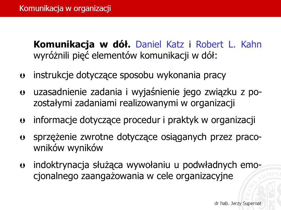 Komunikacja w organizacji dr hab. Jerzy Supernat Komunikacja w dół. Daniel Katz i Robert L. Kahn wyróżnili pięć elementów komunikacji w dół: instrukcj