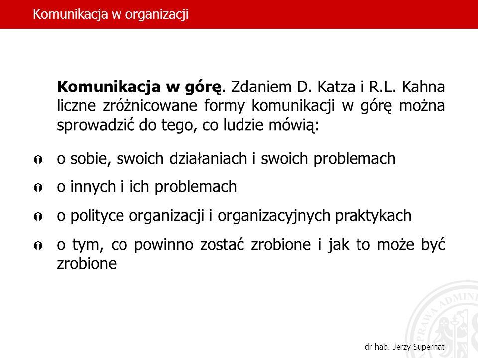 Komunikacja w organizacji dr hab. Jerzy Supernat Komunikacja w górę. Zdaniem D. Katza i R.L. Kahna liczne zróżnicowane formy komunikacji w górę można