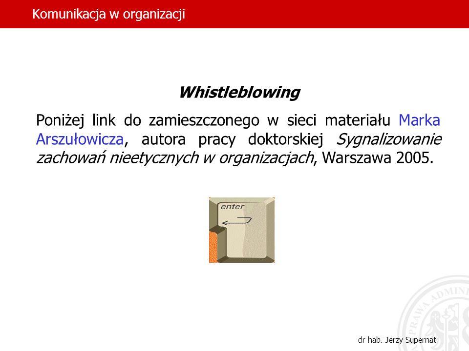 Komunikacja w organizacji dr hab. Jerzy Supernat Whistleblowing Poniżej link do zamieszczonego w sieci materiału Marka Arszułowicza, autora pracy dokt