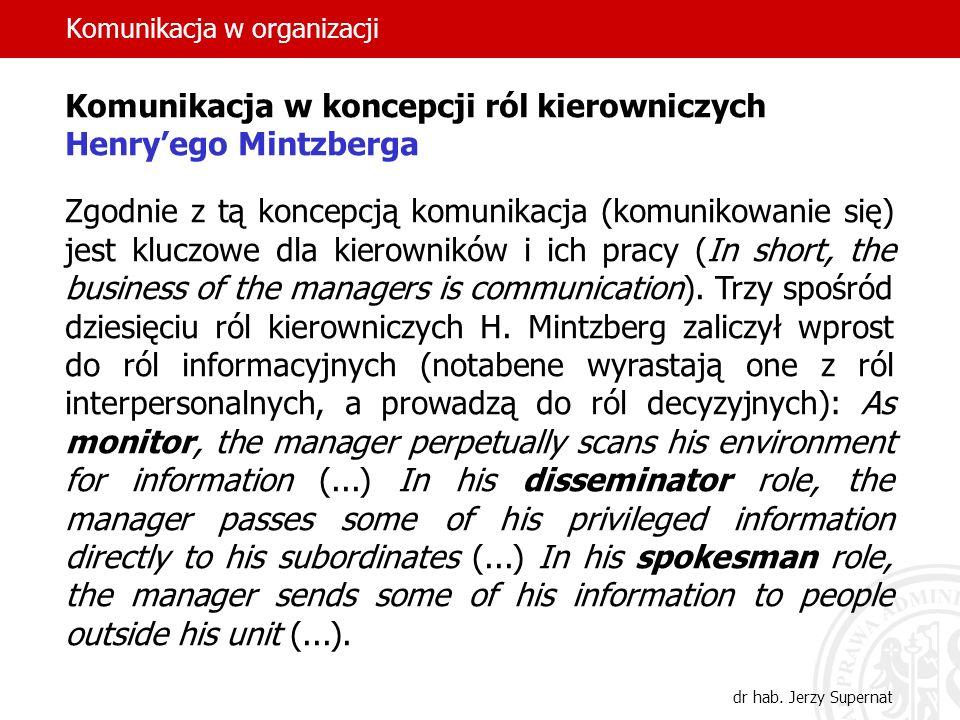 Komunikacja w organizacji dr hab. Jerzy Supernat Komunikacja w koncepcji ról kierowniczych Henryego Mintzberga Zgodnie z tą koncepcją komunikacja (kom