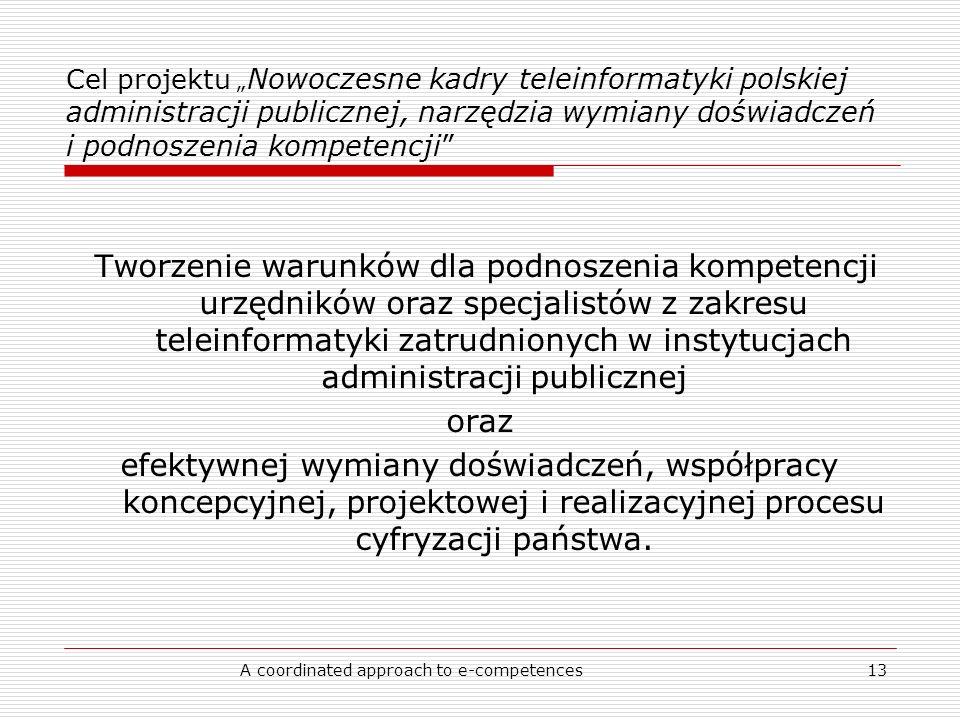 A coordinated approach to e-competences13 Cel projektu Nowoczesne kadry teleinformatyki polskiej administracji publicznej, narzędzia wymiany doświadczeń i podnoszenia kompetencji Tworzenie warunków dla podnoszenia kompetencji urzędników oraz specjalistów z zakresu teleinformatyki zatrudnionych w instytucjach administracji publicznej oraz efektywnej wymiany doświadczeń, współpracy koncepcyjnej, projektowej i realizacyjnej procesu cyfryzacji państwa.