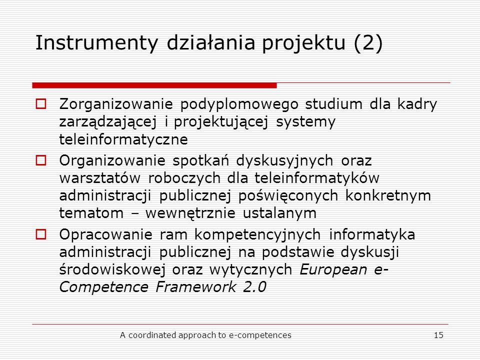A coordinated approach to e-competences15 Instrumenty działania projektu (2) Zorganizowanie podyplomowego studium dla kadry zarządzającej i projektującej systemy teleinformatyczne Organizowanie spotkań dyskusyjnych oraz warsztatów roboczych dla teleinformatyków administracji publicznej poświęconych konkretnym tematom – wewnętrznie ustalanym Opracowanie ram kompetencyjnych informatyka administracji publicznej na podstawie dyskusji środowiskowej oraz wytycznych European e- Competence Framework 2.0