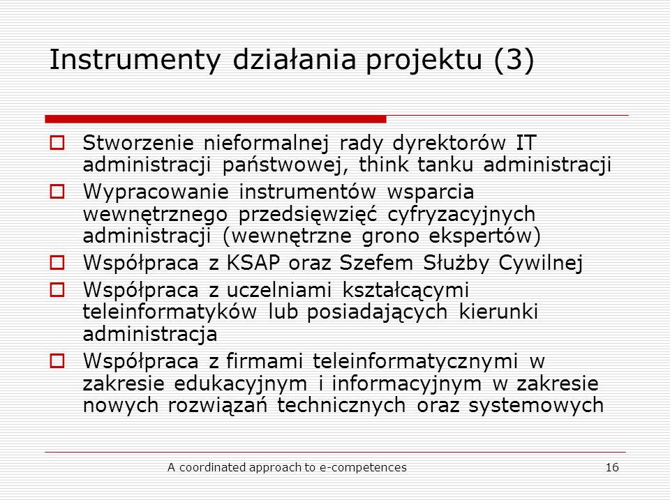 A coordinated approach to e-competences16 Instrumenty działania projektu (3) Stworzenie nieformalnej rady dyrektorów IT administracji państwowej, think tanku administracji Wypracowanie instrumentów wsparcia wewnętrznego przedsięwzięć cyfryzacyjnych administracji (wewnętrzne grono ekspertów) Współpraca z KSAP oraz Szefem Służby Cywilnej Współpraca z uczelniami kształcącymi teleinformatyków lub posiadających kierunki administracja Współpraca z firmami teleinformatycznymi w zakresie edukacyjnym i informacyjnym w zakresie nowych rozwiązań technicznych oraz systemowych
