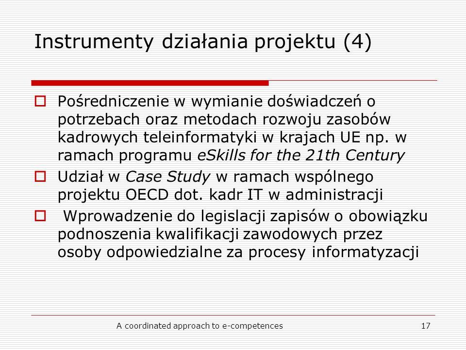 A coordinated approach to e-competences17 Instrumenty działania projektu (4) Pośredniczenie w wymianie doświadczeń o potrzebach oraz metodach rozwoju zasobów kadrowych teleinformatyki w krajach UE np.