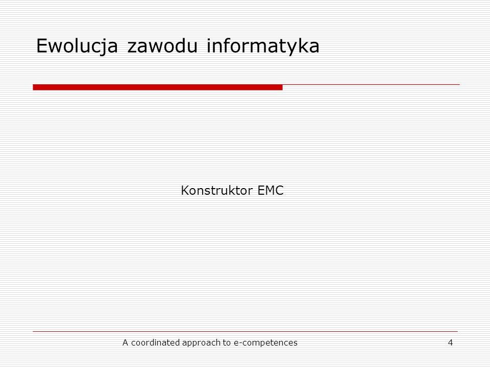 A coordinated approach to e-competences4 Ewolucja zawodu informatyka Konstruktor EMC