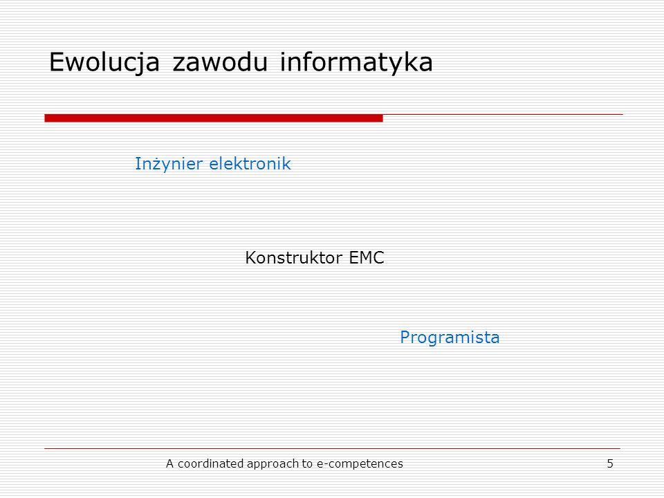 A coordinated approach to e-competences5 Ewolucja zawodu informatyka Konstruktor EMC Inżynier elektronik Programista