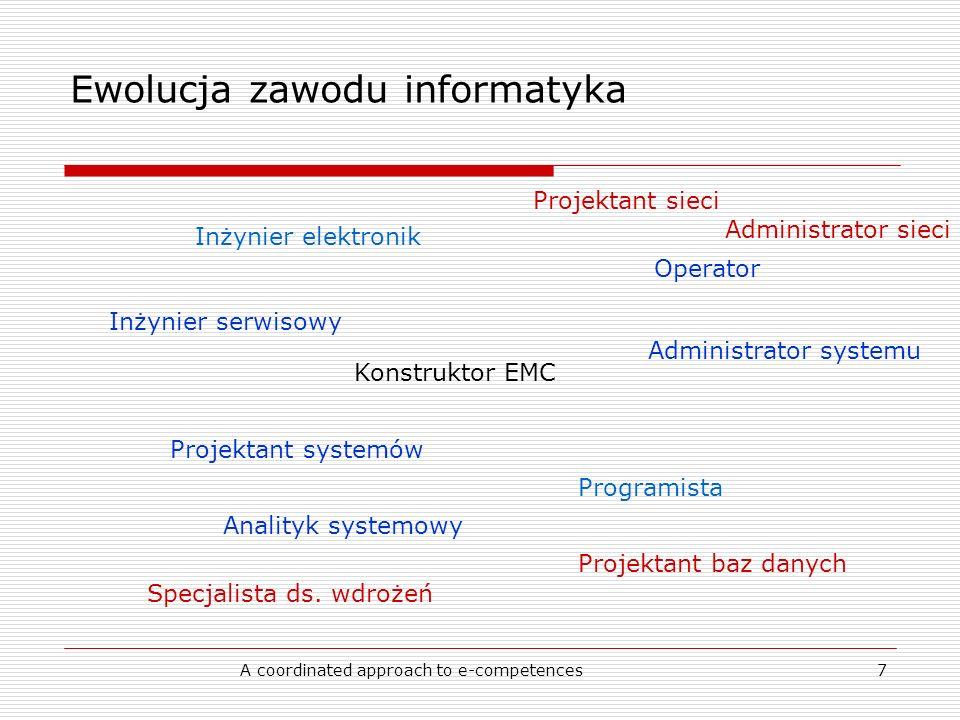 A coordinated approach to e-competences7 Ewolucja zawodu informatyka Konstruktor EMC Inżynier elektronik Programista Operator Inżynier serwisowy Projektant systemów Analityk systemowy Administrator systemu Projektant baz danych Specjalista ds.