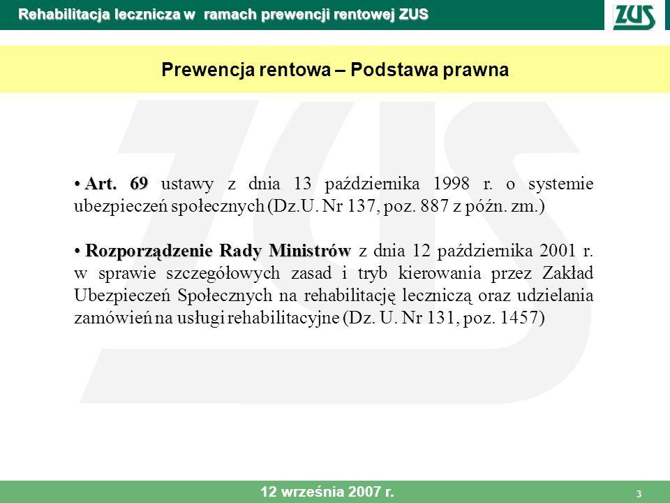 3 Rehabilitacja lecznicza w ramach prewencji rentowej ZUS Prewencja rentowa – Podstawa prawna Art. 69 Art. 69 ustawy z dnia 13 października 1998 r. o