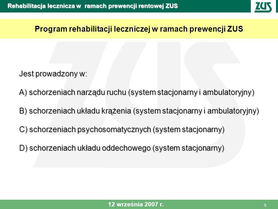 6 Rehabilitacja lecznicza w ramach prewencji rentowej ZUS Rehabilitacja lecznicza Obejmuje indywidualnie ustalony program ukierunkowany na powstałą dysfunkcję z uwzględnieniem wydolności fizycznej pacjenta i schorzeń towarzyszących, w szczególności: rehabilitację fizyczną prowadzoną w różnych formach rehabilitację fizyczną prowadzoną w różnych formach rehabilitację psychiczną obejmującą między innymi psychoedukację rehabilitację psychiczną obejmującą między innymi psychoedukację i treningi relaksacyjne i treningi relaksacyjne edukację zdrowotną ukierunkowaną na: edukację zdrowotną ukierunkowaną na: czynniki ryzyka w chorobach cywilizacyjnych, podstawową wiedzę o procesie chorobowym, czynniki zagrożenia dla zdrowia w miejscu pracy, podstawowe informacje o prawach i obowiązkach pracodawcy i pracownika, zasady prawidłowego żywienia, udzielenie instruktażu odnośnie dalszej rehabilitacji po powrocie do domu.