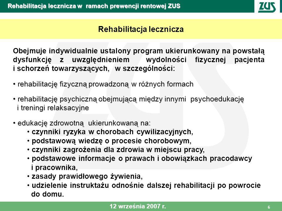 7 Rehabilitacja lecznicza w ramach prewencji rentowej ZUS Zobowiązania ośrodków Zakład Ubezpieczeń Społecznych zobowiązuje ośrodki do: 1.Zapewnienia osobom skierowanym przez ZUS, o ile nie ma przeciwwskazań medycznych, nie mniej niż pięciu zabiegów leczniczych (w tym dwóch fizykalnych) dziennie ukierunkowanych na leczenie schorzenia będącego podstawą skierowania na rehabilitację i schorzenia współistniejące 2.Realizowania w ustalonym indywidualnie programie rehabilitacji leczniczej ćwiczeń i zabiegów fizykalnych przez 5 dni w tygodniu w dwóch cyklach dziennych – przed południem i po południu, a w soboty w jednym cyklu dziennym do południa.
