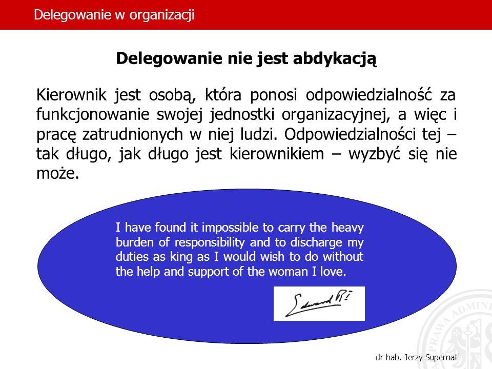 23 Delegowanie nie jest abdykacją Kierownik jest osobą, która ponosi odpowiedzialność za funkcjonowanie swojej jednostki organizacyjnej, a więc i prac