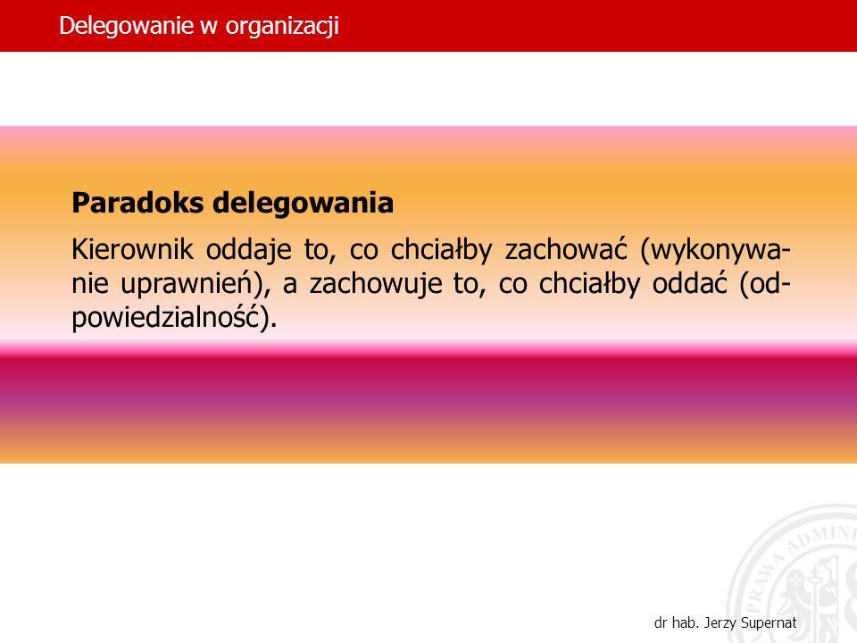 24 Paradoks delegowania Kierownik oddaje to, co chciałby zachować (wykonywa- nie uprawnień), a zachowuje to, co chciałby oddać (od- powiedzialność). D