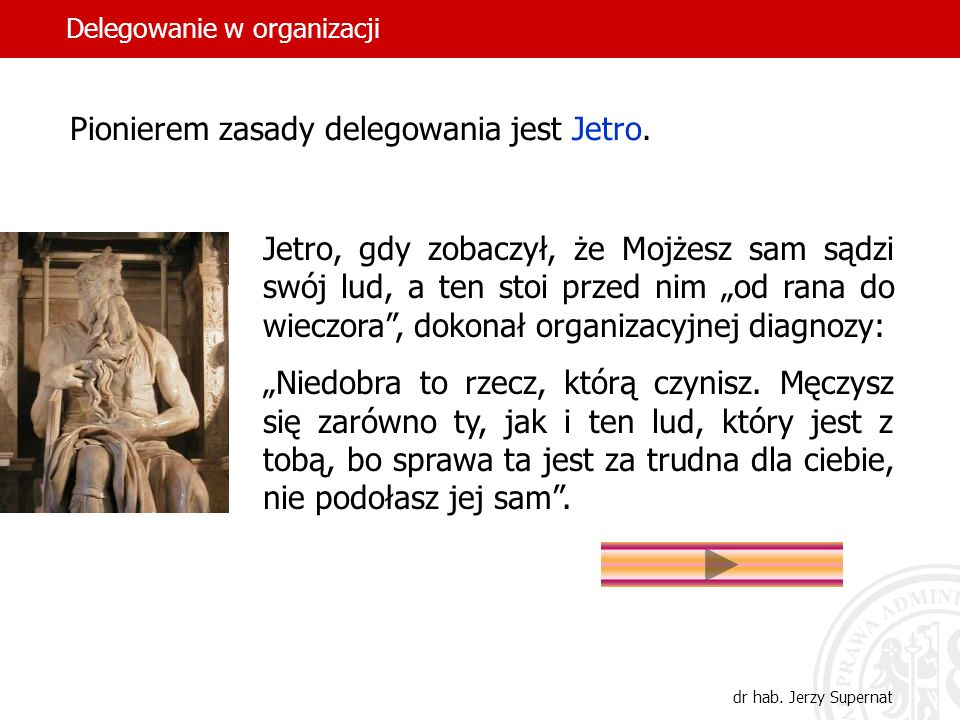 3 Pionierem zasady delegowania jest Jetro. Jetro, gdy zobaczył, że Mojżesz sam sądzi swój lud, a ten stoi przed nim od rana do wieczora, dokonał organ