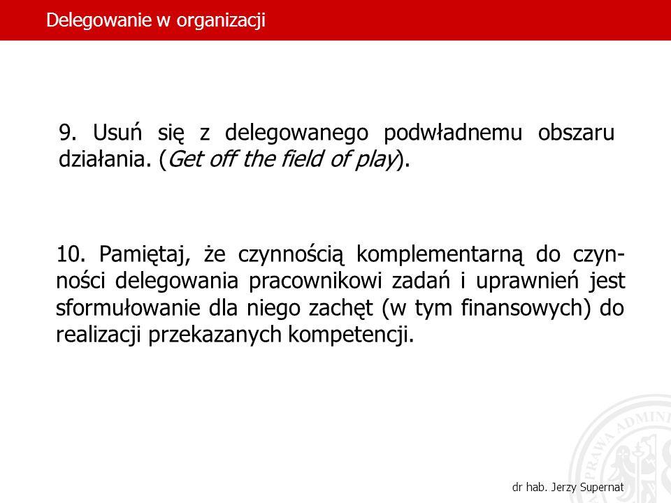 34 9. Usuń się z delegowanego podwładnemu obszaru działania. (Get off the field of play). 10. Pamiętaj, że czynnością komplementarną do czyn- ności de