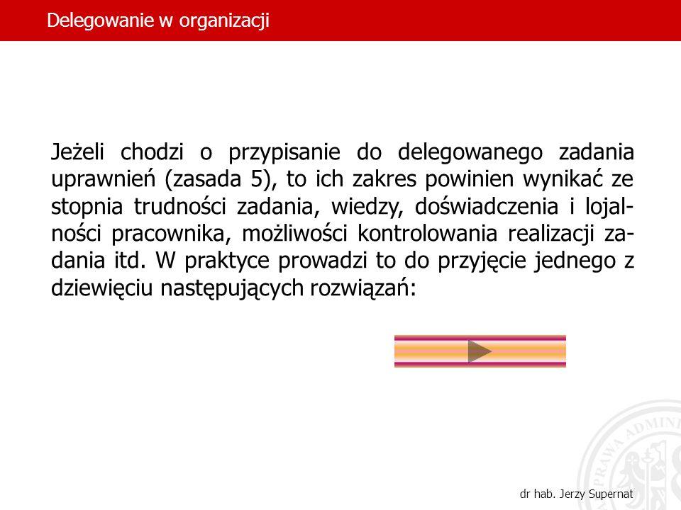 35 Jeżeli chodzi o przypisanie do delegowanego zadania uprawnień (zasada 5), to ich zakres powinien wynikać ze stopnia trudności zadania, wiedzy, dośw