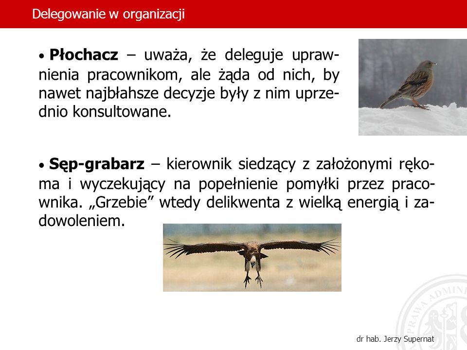 47 Płochacz – uważa, że deleguje upraw- nienia pracownikom, ale żąda od nich, by nawet najbłahsze decyzje były z nim uprze- dnio konsultowane. Sęp-gra