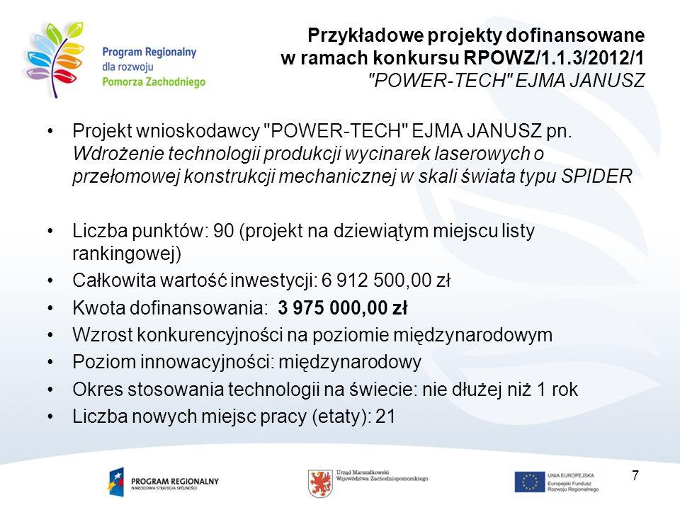 7 Przykładowe projekty dofinansowane w ramach konkursu RPOWZ/1.1.3/2012/1