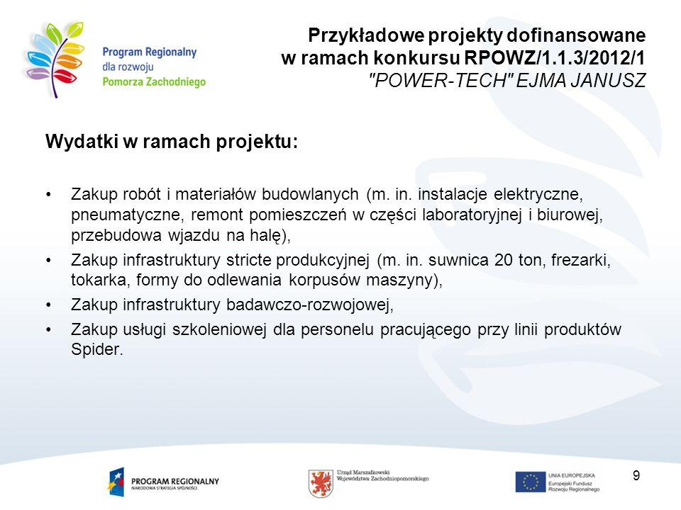 Wskaźniki produktu: Liczba nabytych środków trwałych (nowych i używanych): 18 Liczba nabytych wartości niematerialnych i prawnych: 3 Powierzchnia przebudowanych nieruchomości zabudowanych: 644 m2 Wskaźniki rezultatu: Liczba nowych miejsc pracy: 21 Liczba nowych produktów wprowadzonych w przedsiębiorstwie w wyniku realizacji projektu: 3 Zmniejszenie ilości odpadów: 2,5 tony Zmniejszenie zużycia energii: 70 000 kWh Liczba godzin szkoleniowych: 100/Liczba przeszkolonych pracowników przedsiębiorstwa: 21 10 Przykładowe projekty dofinansowane w ramach konkursu RPOWZ/1.1.3/2012/1 POWER-TECH EJMA JANUSZ