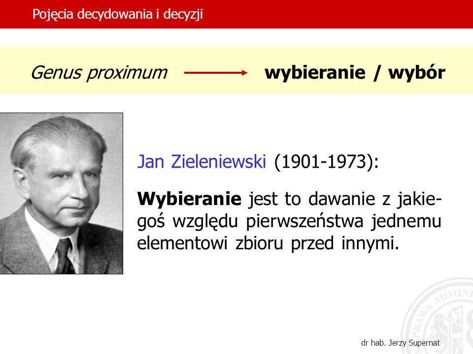 2 Genus proximumwybieranie / wybór Jan Zieleniewski (1901-1973): Wybieranie jest to dawanie z jakie- goś względu pierwszeństwa jednemu elementowi zbio