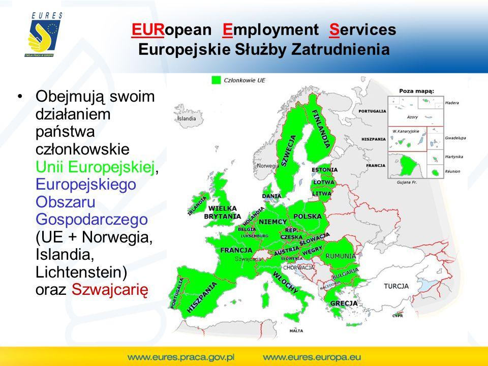 Obejmują swoim działaniem państwa członkowskie Unii Europejskiej, Europejskiego Obszaru Gospodarczego (UE + Norwegia, Islandia, Lichtenstein) oraz Szwajcarię EURopean Employment Services Europejskie Służby Zatrudnienia