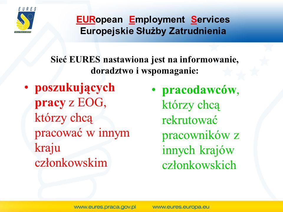 EURopean Employment Services Europejskie Służby Zatrudnienia poszukujących pracy z EOG, którzy chcą pracować w innym kraju członkowskim pracodawców, którzy chcą rekrutować pracowników z innych krajów członkowskich Sieć EURES nastawiona jest na informowanie, doradztwo i wspomaganie: