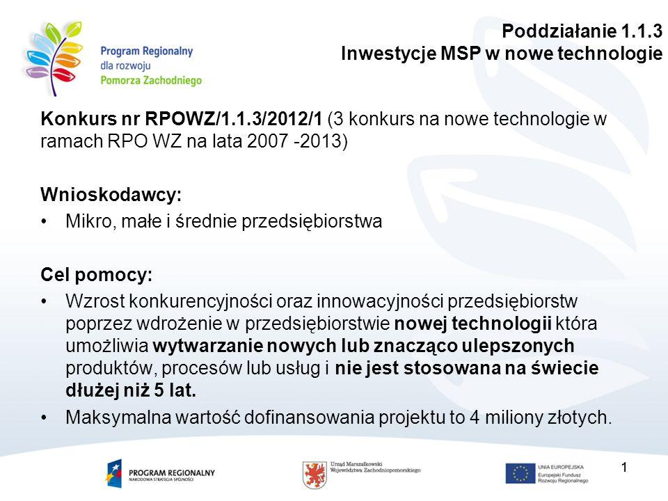11 Konkurs nr RPOWZ/1.1.3/2012/1 (3 konkurs na nowe technologie w ramach RPO WZ na lata 2007 -2013) Wnioskodawcy: Mikro, małe i średnie przedsiębiorstwa Cel pomocy: Wzrost konkurencyjności oraz innowacyjności przedsiębiorstw poprzez wdrożenie w przedsiębiorstwie nowej technologii która umożliwia wytwarzanie nowych lub znacząco ulepszonych produktów, procesów lub usług i nie jest stosowana na świecie dłużej niż 5 lat.