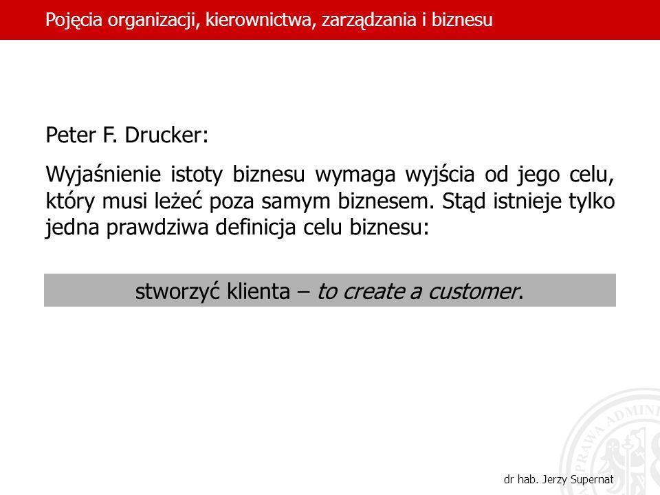 19 Peter F. Drucker: Wyjaśnienie istoty biznesu wymaga wyjścia od jego celu, który musi leżeć poza samym biznesem. Stąd istnieje tylko jedna prawdziwa