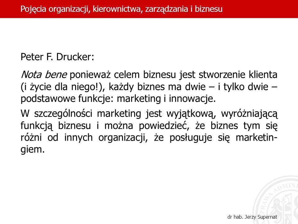 22 Peter F. Drucker: Nota bene ponieważ celem biznesu jest stworzenie klienta (i życie dla niego!), każdy biznes ma dwie – i tylko dwie – podstawowe f