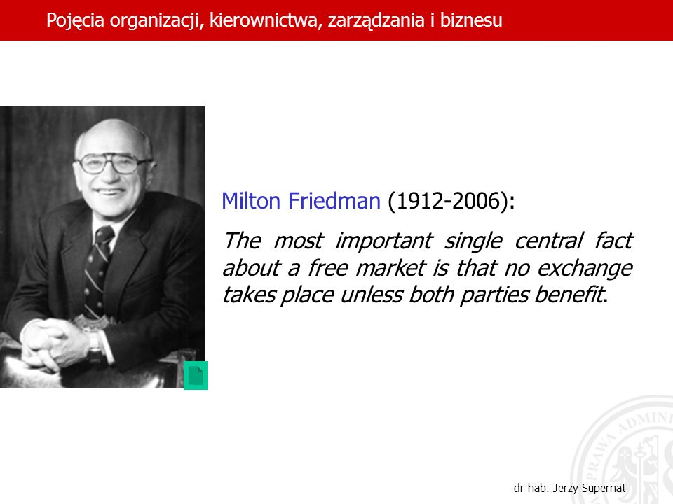 27 Milton Friedman (1912-2006): The most important single central fact about a free market is that no exchange takes place unless both parties benefit