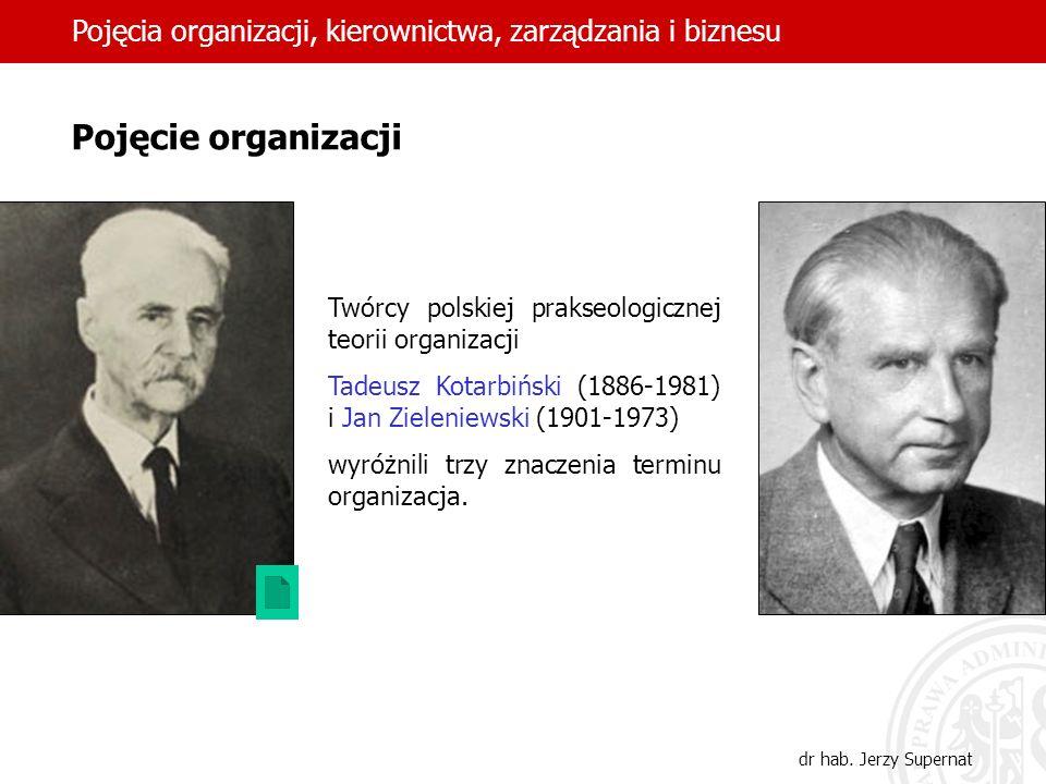3 Pojęcie organizacji Twórcy polskiej prakseologicznej teorii organizacji Tadeusz Kotarbiński (1886-1981) i Jan Zieleniewski (1901-1973) wyróżnili trz