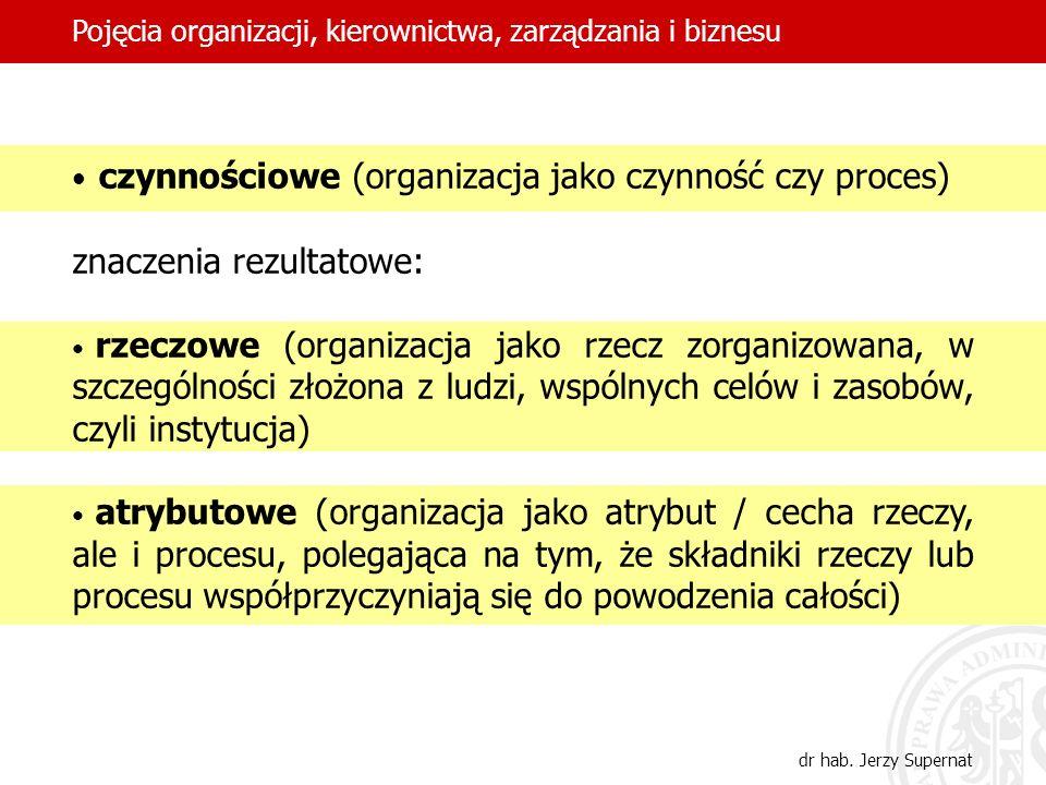 4 czynnościowe (organizacja jako czynność czy proces) znaczenia rezultatowe: rzeczowe (organizacja jako rzecz zorganizowana, w szczególności złożona z