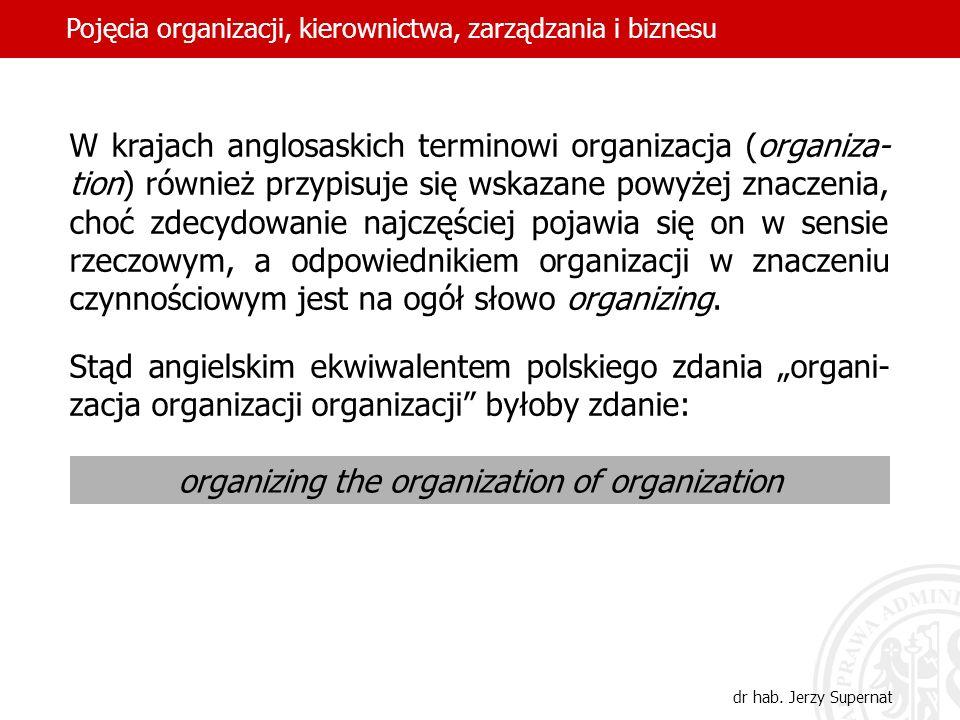 6 W krajach anglosaskich terminowi organizacja (organiza- tion) również przypisuje się wskazane powyżej znaczenia, choć zdecydowanie najczęściej pojaw