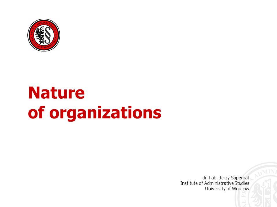 Nature of organizations dr.hab. Jerzy Supernat Each organization requires management.