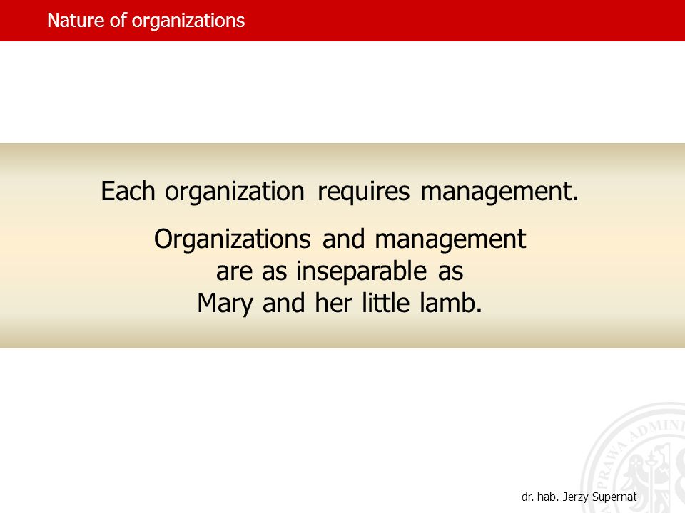 Nature of organizations dr.hab. Jerzy Supernat Each organization requires management.