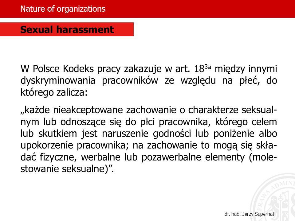Nature of organizations W Polsce Kodeks pracy zakazuje w art. 18 3a między innymi dyskryminowania pracowników ze względu na płeć, do którego zalicza: