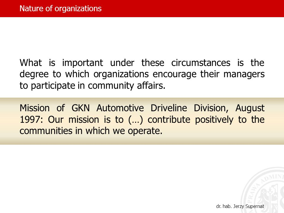 Nature of organizations What is important under these circumstances is the degree to which organizations encourage their managers to participate in community affairs.