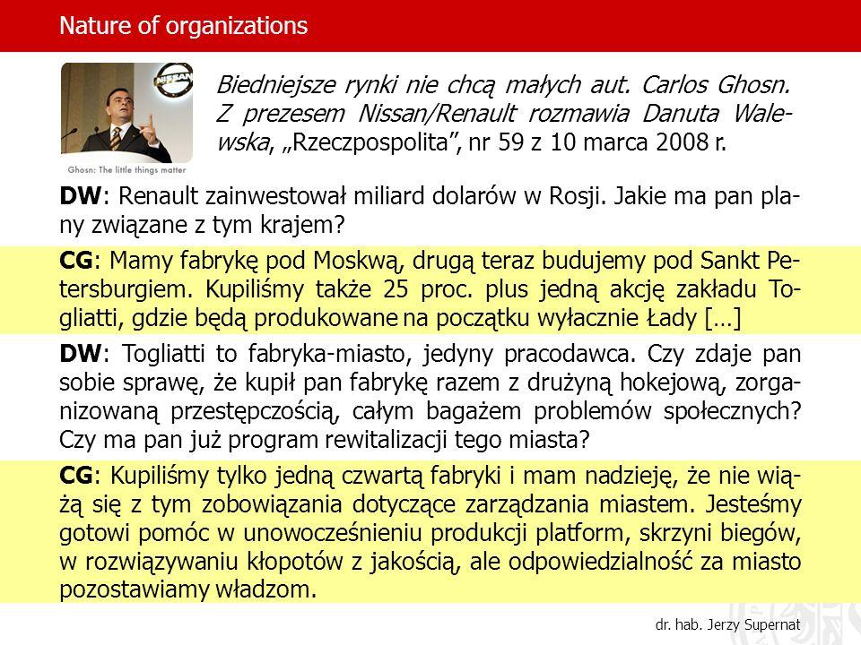 Nature of organizations DW: Renault zainwestował miliard dolarów w Rosji. Jakie ma pan pla- ny związane z tym krajem? CG: Mamy fabrykę pod Moskwą, dru