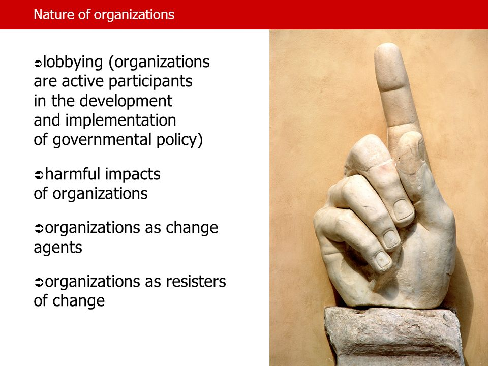 Nature of organizations lobbying (organizations are active participants in the development and implementation of governmental policy) harmful impacts