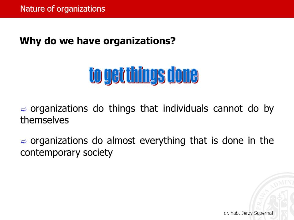 Nature of organizations Organizations and individuals 1.Individuals as employees of organizations.